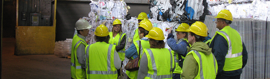Group taking a tour of a Rumpke waste facility