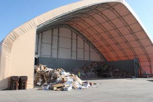 A fabric building keeps recyclables dry at Rumpke Recycling